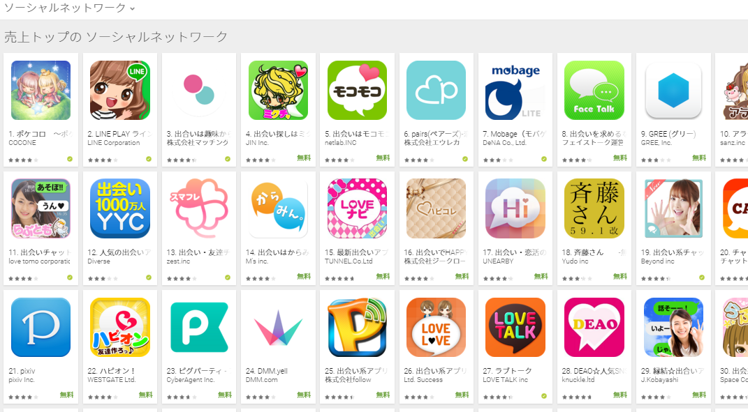 Google Play週次ランキング(11/23) ミクチャ、出会いはモコモコがトップ5にランクイン