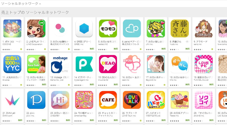 Google Play売上ランキング(ソーシャルネットワークカテゴリー)(1/5) グリーがランクアップ