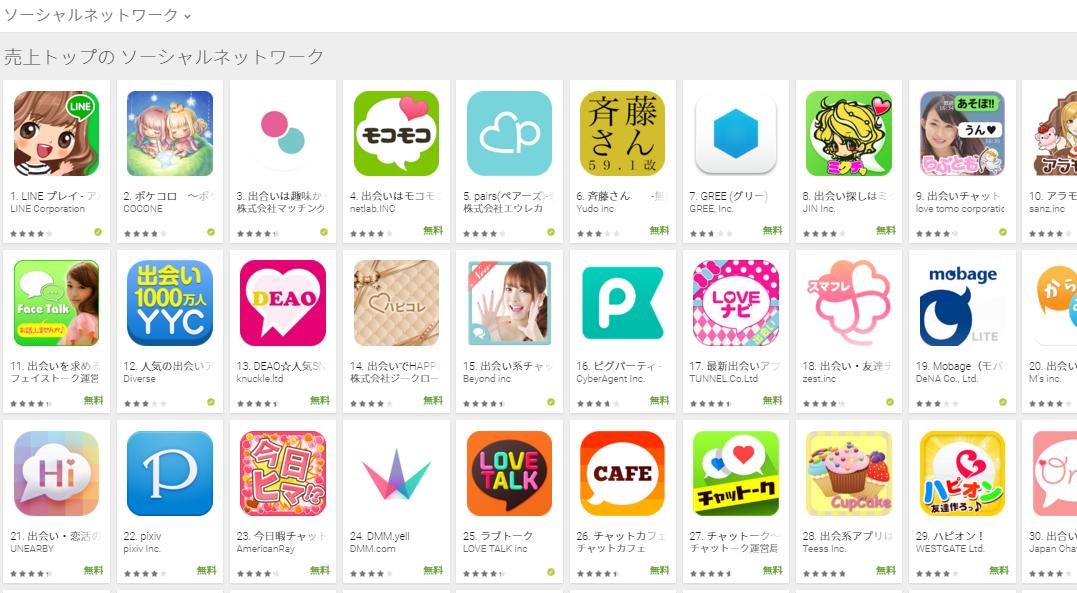 Google Play売上ランキング(ソーシャルネットワークカテゴリー)(1/11) LINE PLAYが1位に復帰