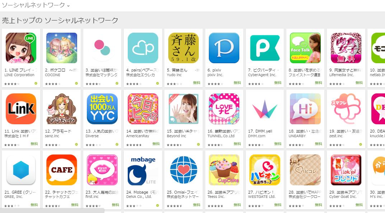 Google Play売上ランキング(ソーシャルネットワークカテゴリー)(3/7) LINE PLAYが1位に浮上