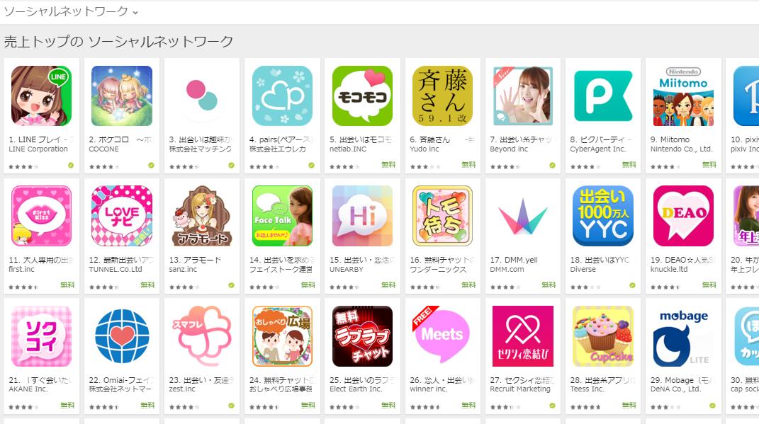 Google Play売上ランキング(ソーシャルネットワークカテゴリー)(4/11) LINE PLAY再び首位に
