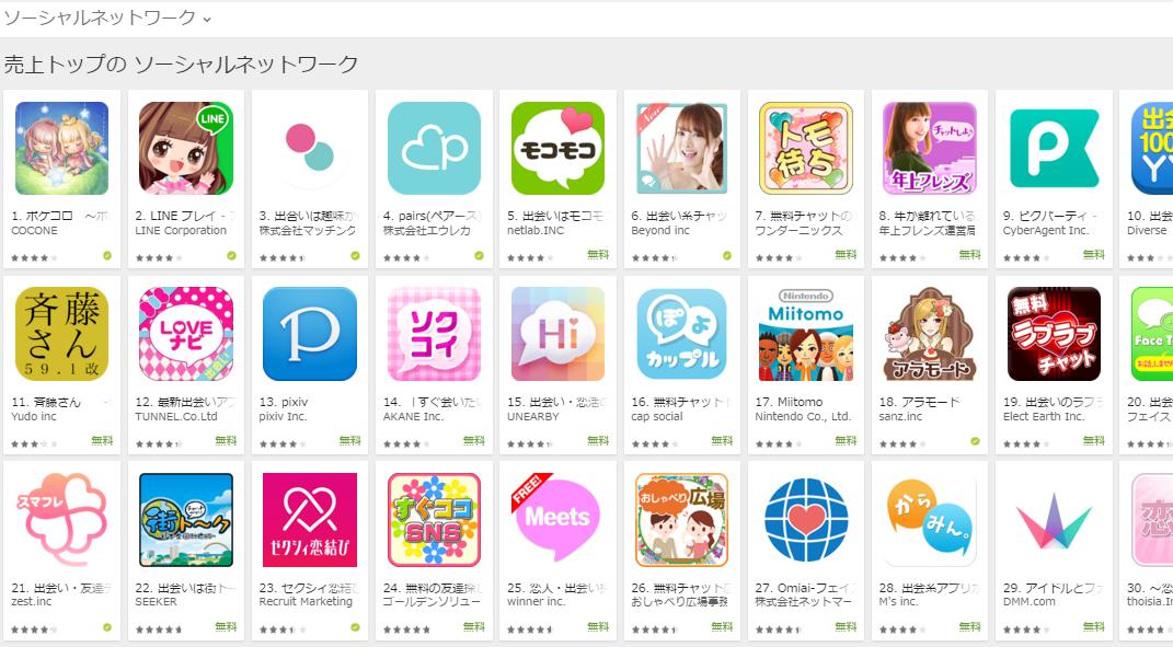 Google Play売上ランキング(ソーシャルネットワークカテゴリー)(4/25) 年上フレンズがトップ10入り