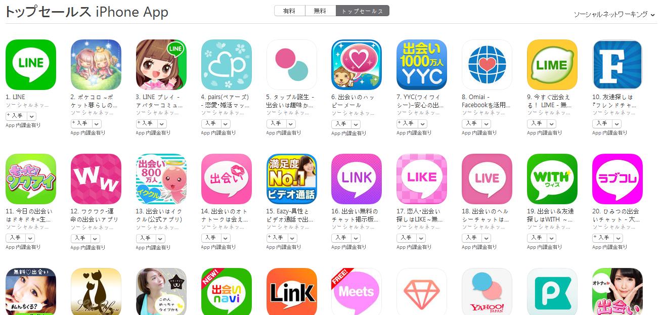 App Store(ソーシャルネットワーキング トップセールスランキング)(4/11) LIMEがトップ10入り