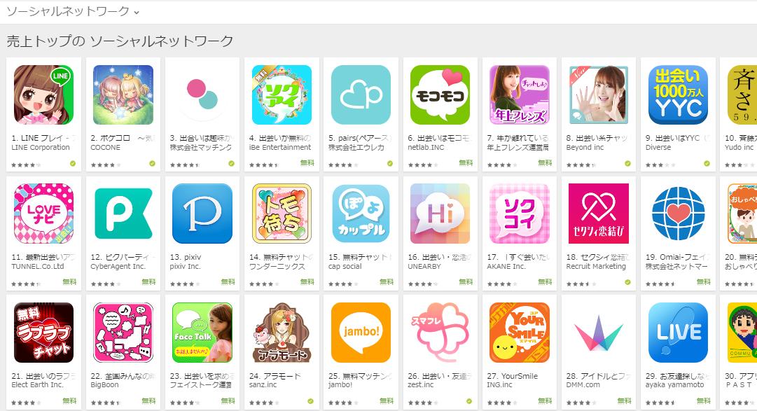 Google Play売上ランキング(ソーシャルネットワークカテゴリー)(5/16) LINE PLAYが約1ヶ月ぶりに首位へ