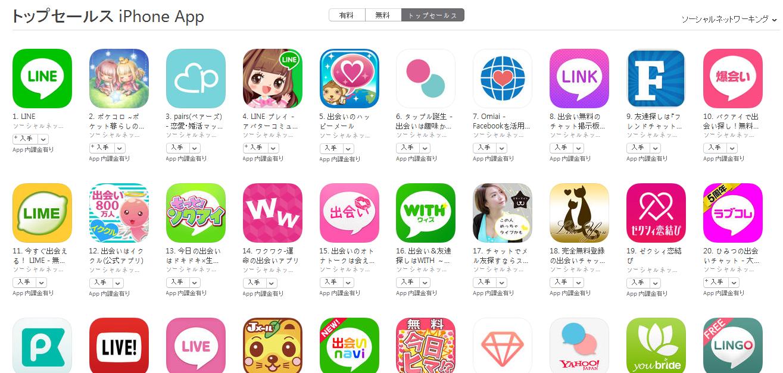 App Store(ソーシャルネットワーキング トップセールスランキング)(5/16) バクアイが急上昇