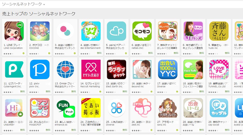 Google Play売上ランキング(ソーシャルネットワークカテゴリー)(7/18) ピグパーティが再び上昇