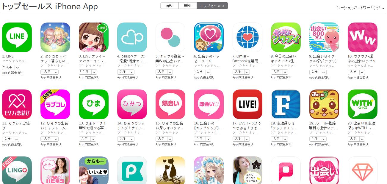 App Store(ソーシャルネットワーキング トップセールスランキング)(7/4) ラブコレが上昇