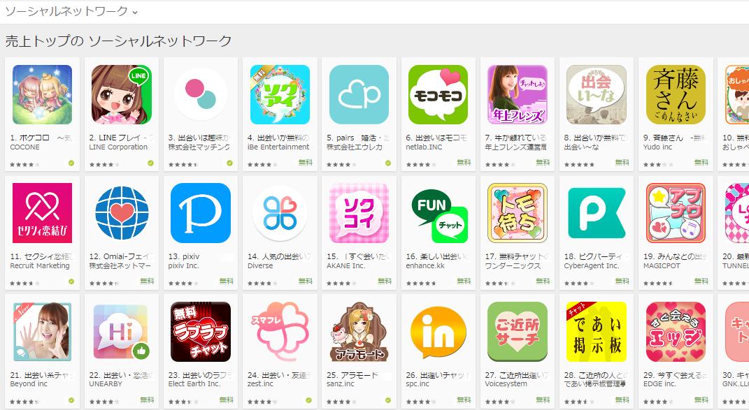 Google Play売上ランキング(ソーシャルネットワークカテゴリー)(8/1) 出会い―ながトップ10入り