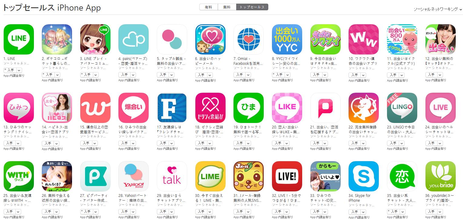 App Store(ソーシャルネットワーキング トップセールスランキング)(8/22) マッチが12位に登場