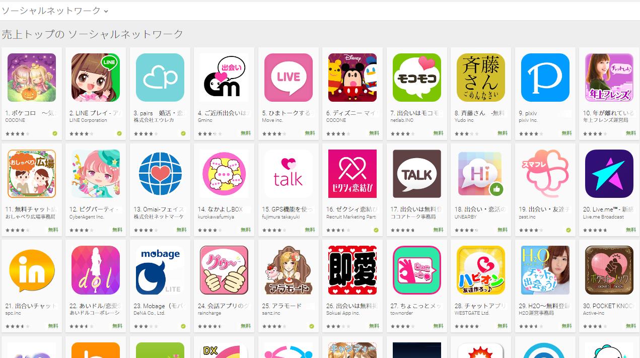 Google Play売上ランキング(ソーシャルネットワークカテゴリー)(10/10) ガールズマップが4位に上昇