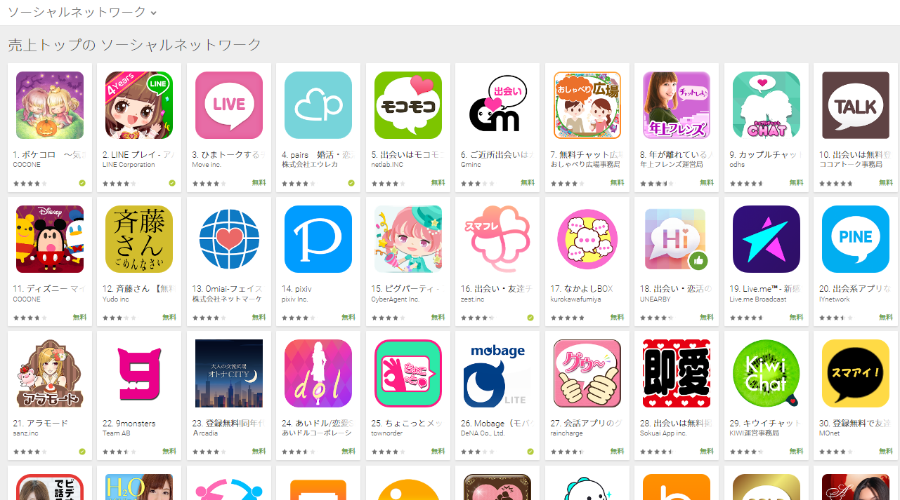 Google Play売上ランキング(ソーシャルネットワークカテゴリー)(10/31) ヘルシーチャットが3位に上昇