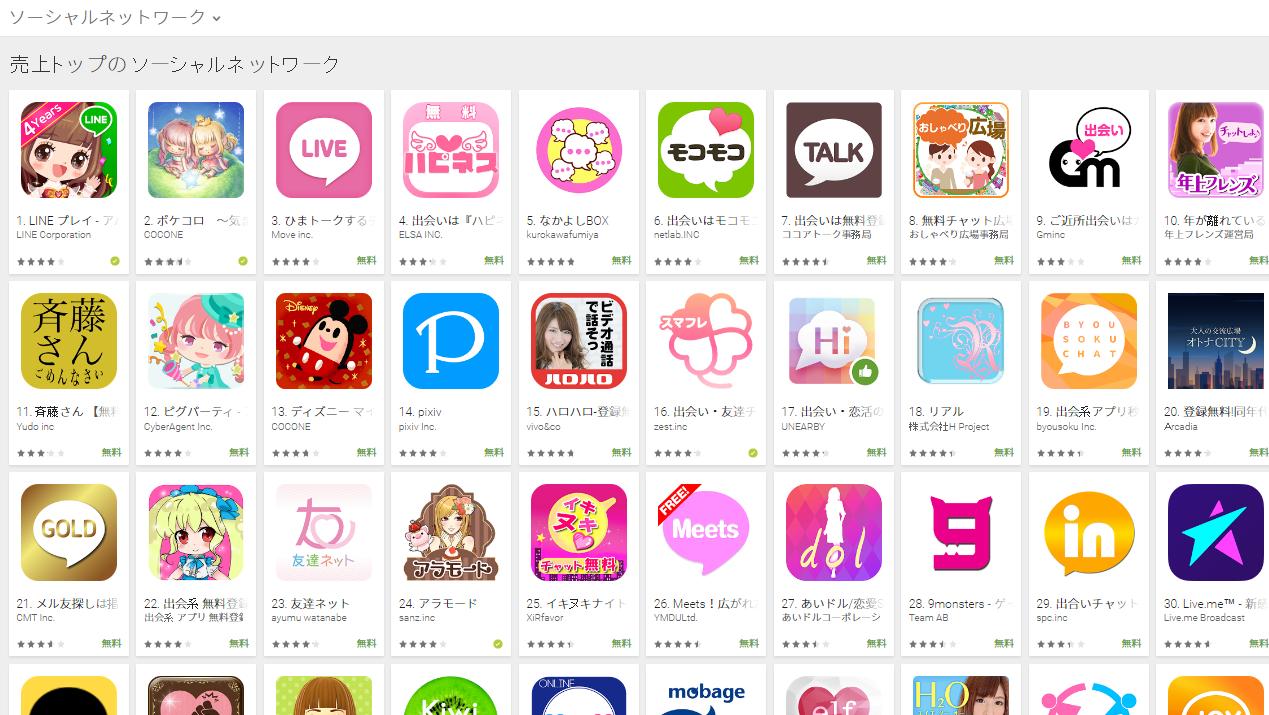 Google Play売上ランキング(ソーシャルネットワークカテゴリー)(11/28) なかよしBOXがトップ5入り