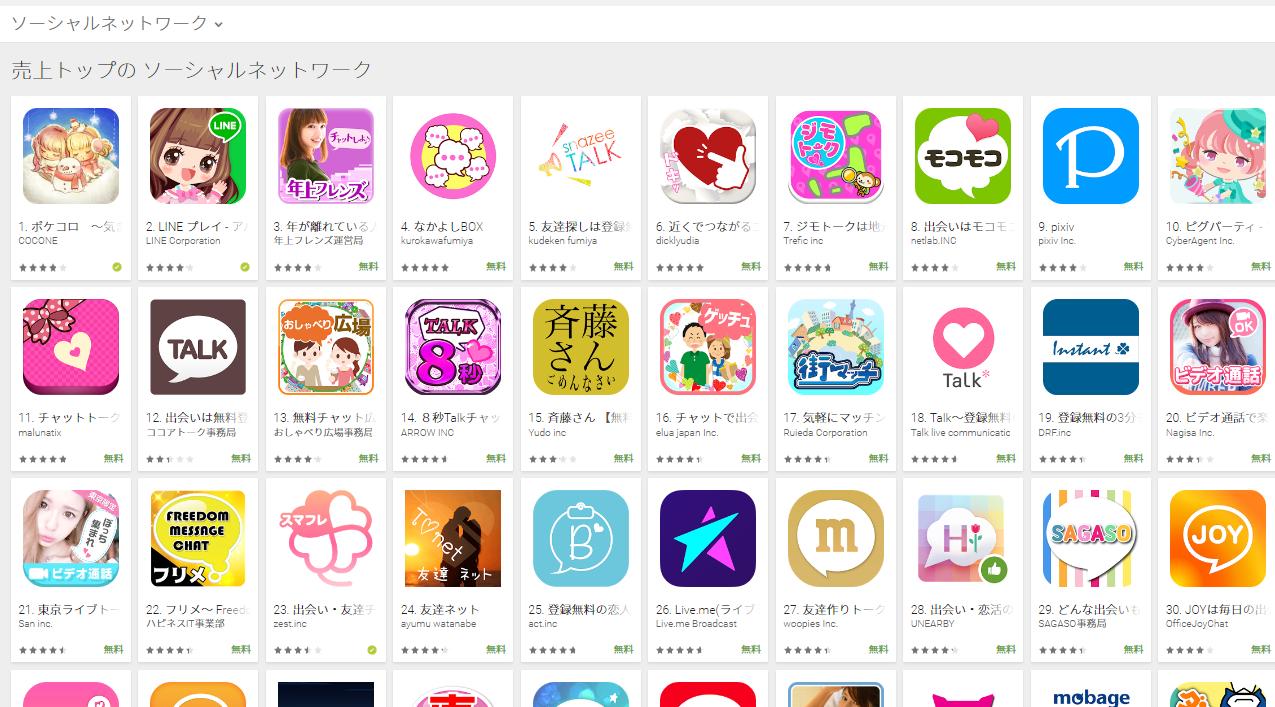 Google Play売上ランキング(ソーシャルネットワークカテゴリー)(2/13) コイチラが6位にランクイン