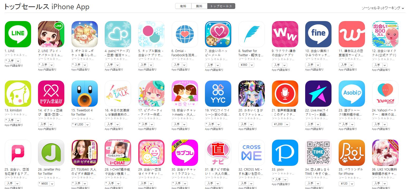 App Store(ソーシャルネットワーキング トップセールスランキング)(2/20) LINE PLAYが2位に上昇