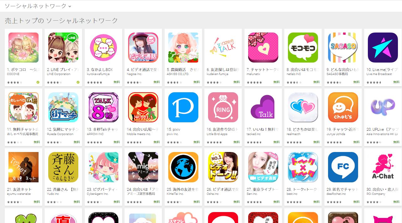 Google Play売上ランキング(ソーシャルネットワークカテゴリー)(3/13) Peachが急上昇