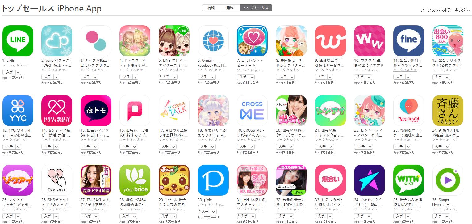 App Store(ソーシャルネットワーキング トップセールスランキング)(3/6) pairs(ペアーズ)が2位に上昇
