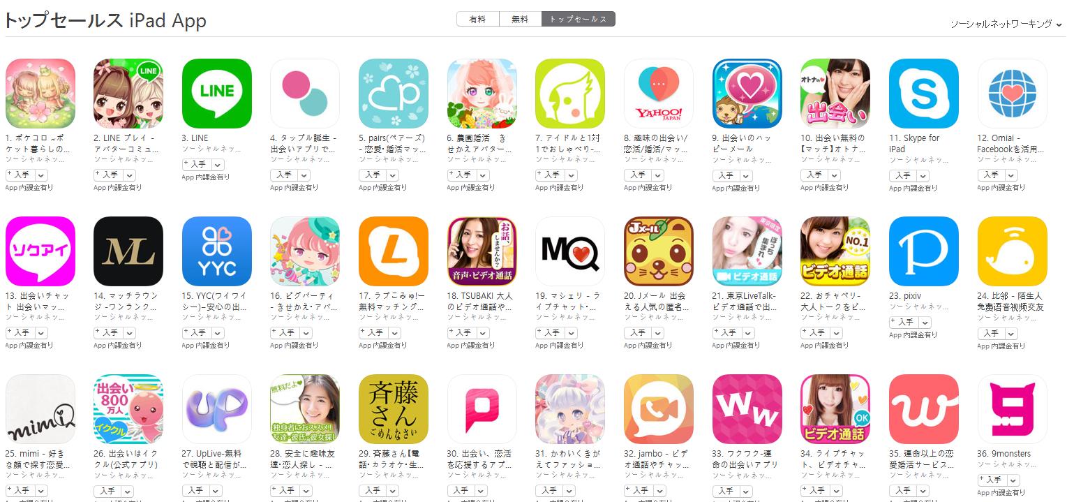 App Store(ソーシャルネットワーキング トップセールスランキング)(3/20) ポケコロが1位に上昇