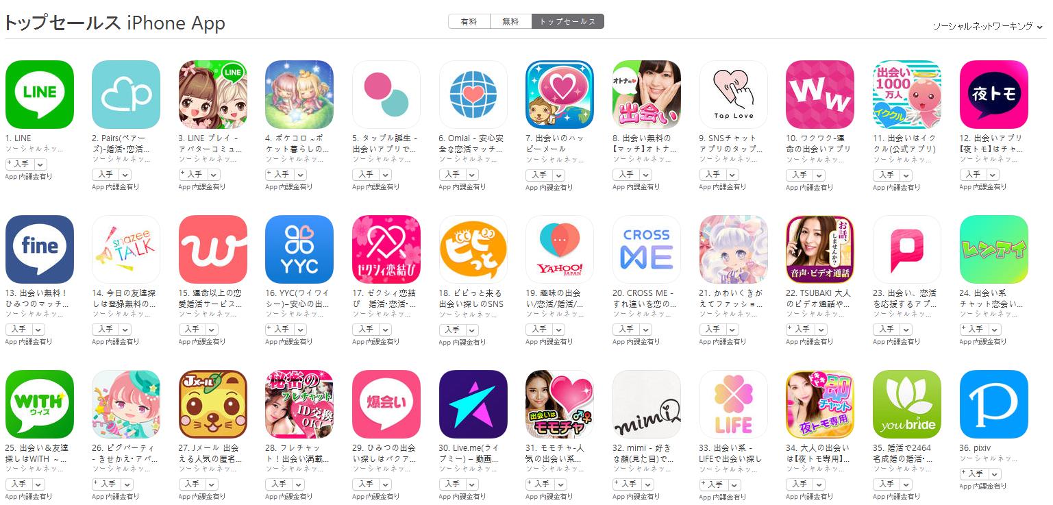 App Store(ソーシャルネットワーキング トップセールスランキング)(4/24) pairs(ペアーズ)が再び2位に上昇