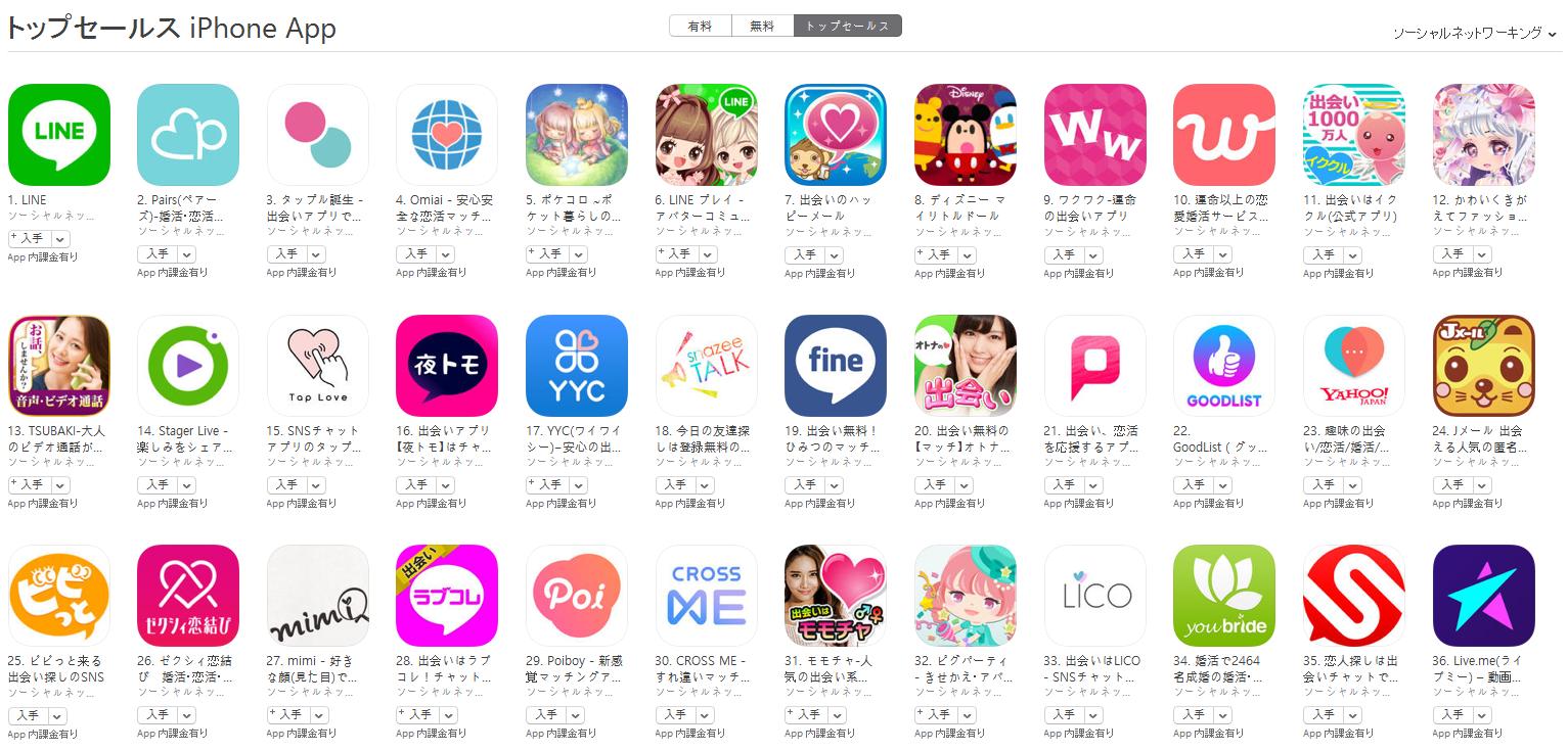 App Store(ソーシャルネットワーキング トップセールスランキング)(6/26) ディズニー マイリトルドールが急上昇
