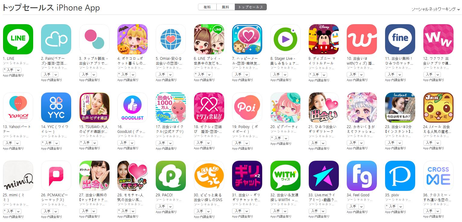 App Store(ソーシャルネットワーキング トップセールスランキング)(10/16) pairs(ペアーズ)が2位に上昇