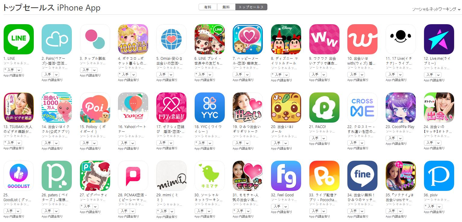 App Store(ソーシャルネットワーキング トップセールスランキング)(12/11) pairs(ペアーズ)が2位に再浮上