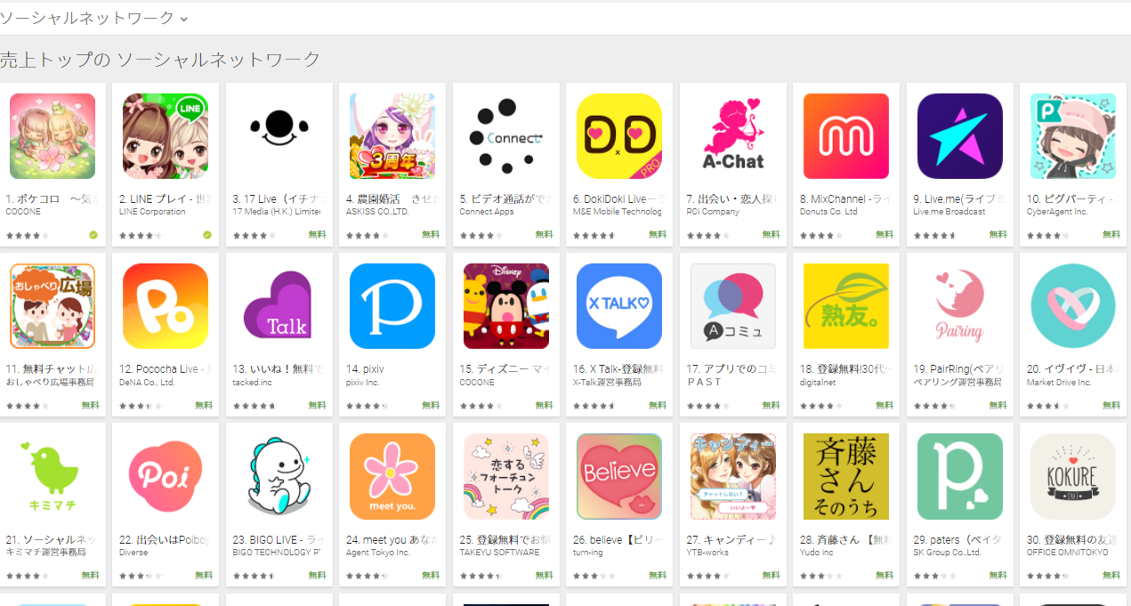 Google Play売上ランキング(ソーシャルネットワークカテゴリー)(3/12) 農園婚活が4位にランクイン