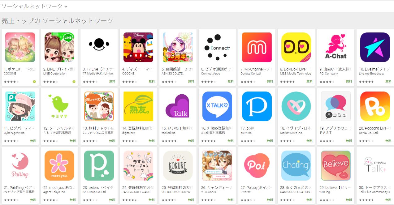 Google Play売上ランキング(ソーシャルネットワークカテゴリー)(3/19) ディズニー マイリトルドールが急上昇
