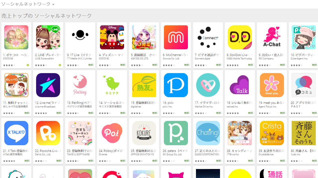 Google Play売上ランキング(ソーシャルネットワークカテゴリー)(3/26) ピグパーティがトップ10入り