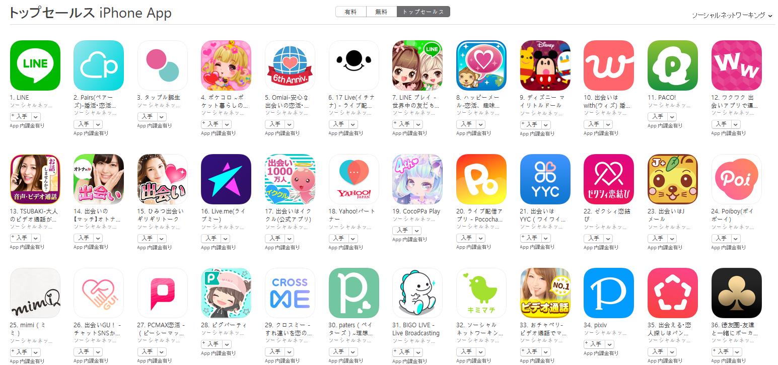 App Store(ソーシャルネットワーキング トップセールスランキング)(3/5) pairs(ペアーズ)が2位に上昇