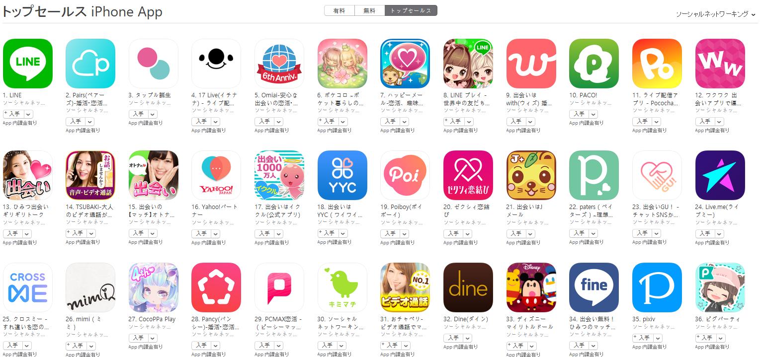 App Store(ソーシャルネットワーキング トップセールスランキング)(3/12) 17 LIVEが上昇