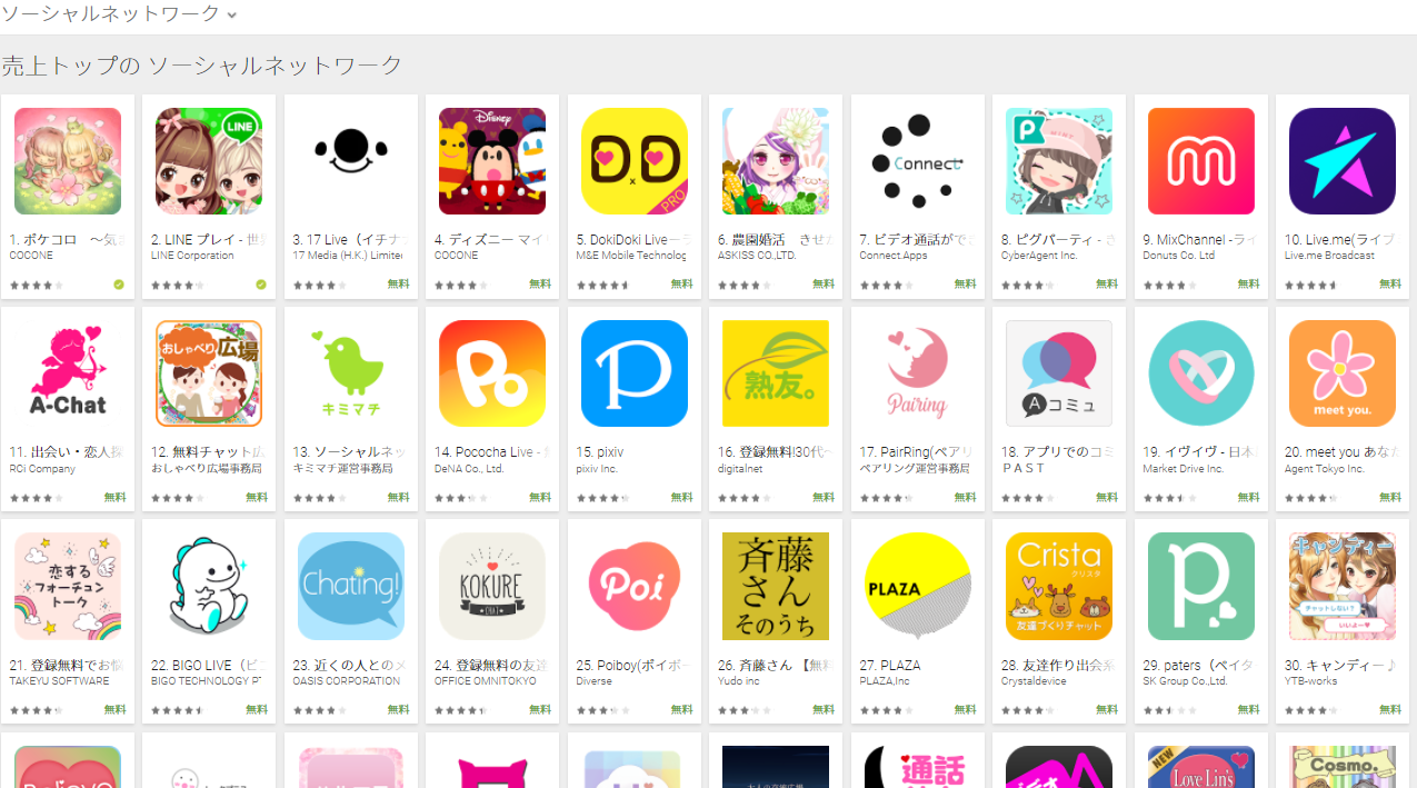 Google Play売上ランキング(ソーシャルネットワークカテゴリー)(4/2) ドキドキが5位に上昇