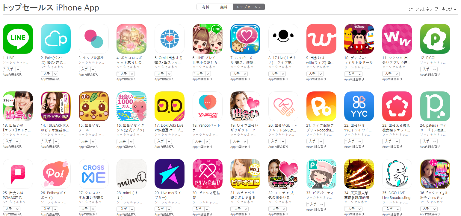 App Store(ソーシャルネットワーキング トップセールスランキング)(4/16) Omiaiが5位に上昇
