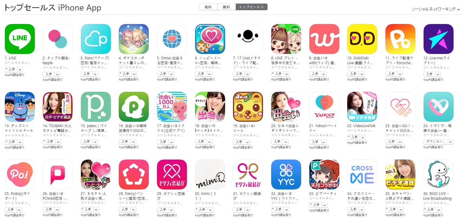 App Store(ソーシャルネットワーキング トップセールスランキング)(5/29) タップル誕生が2位に上昇