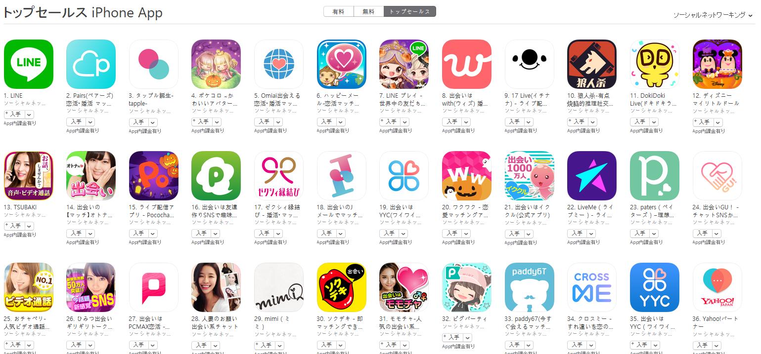 App Store(ソーシャルネットワーキング トップセールスランキング)(10/22) ポケコロが4位に上昇