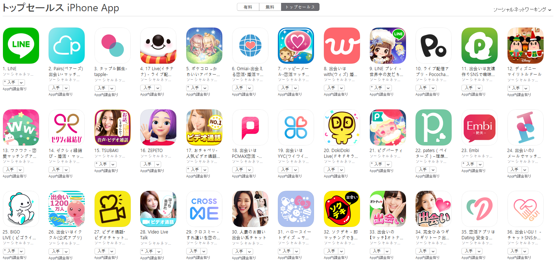 App Store(ソーシャルネットワーキング トップセールスランキング)(12/10) Pococha Liveが急上昇