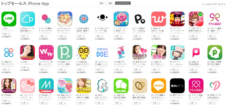 App Store(ソーシャルネットワーキング トップセールスランキング)(2/25) Pococha Liveが8位に上昇