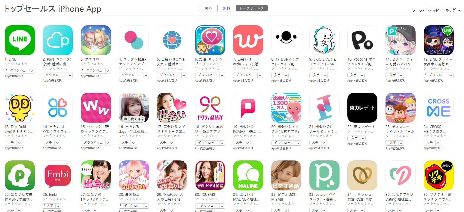 App Store(ソーシャルネットワーキング トップセールスランキング)(7/15) BIGO LIVEが9位に上昇
